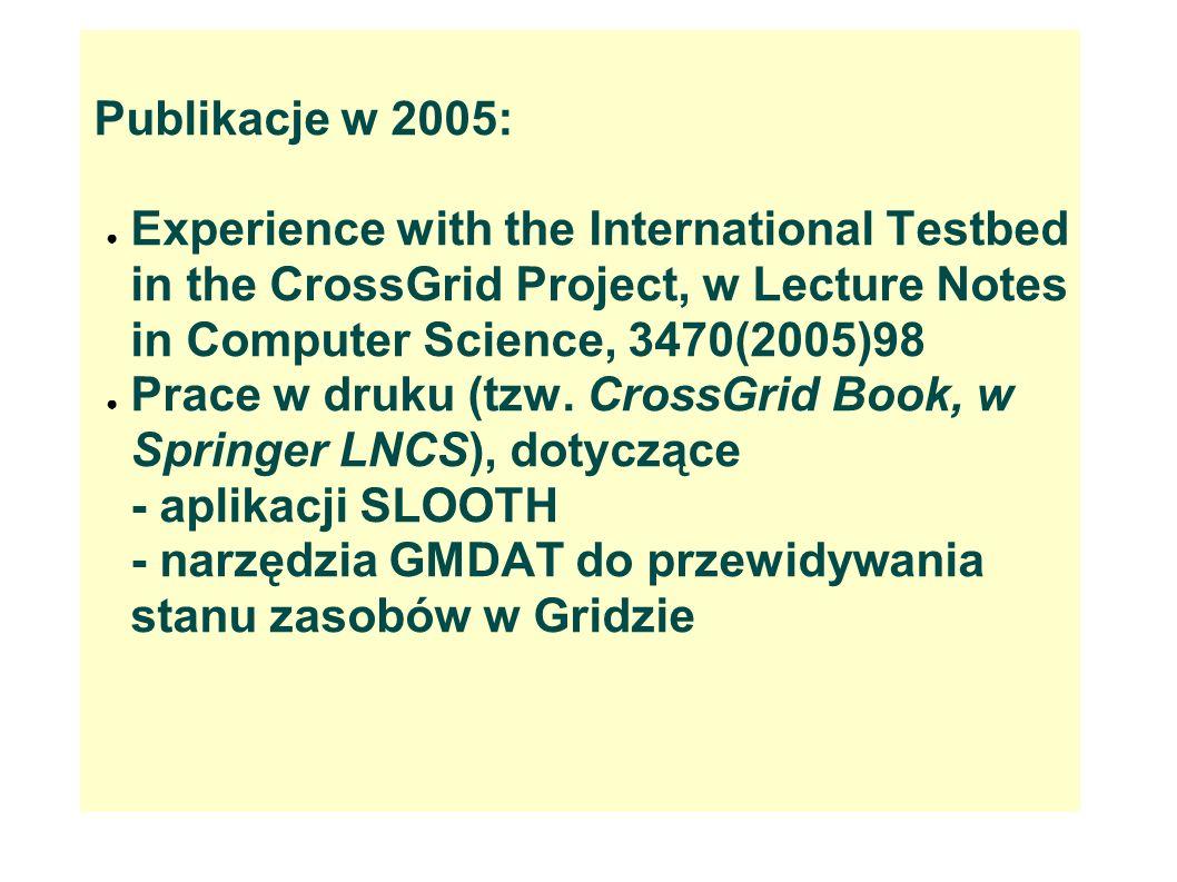 Obecna działaność: Michał Bluj --> Aplikacje HEP przechodzą z projektów w ręce użytkowników (szkolenie w ramach EGEE: 30/11- 3/12 br.) --> Ryszard Gokieli: Integracja z projektem LHC Computing Grid, szczególnie uczestnictwo w CMS Service Challenges)