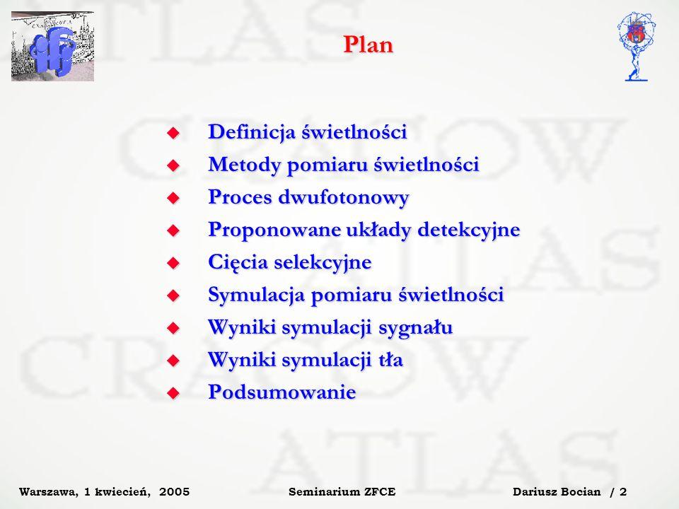Dariusz Bocian / 3 Seminarium ZFCE Warszawa, 1 kwiecień, 2005 Definicja świetlności Świetlność, L, jest parametrem maszyny, informującym ile przypadków na sekundę, R, będziemy obserwować przy ustalonym przekroju czynnym, σ calc.