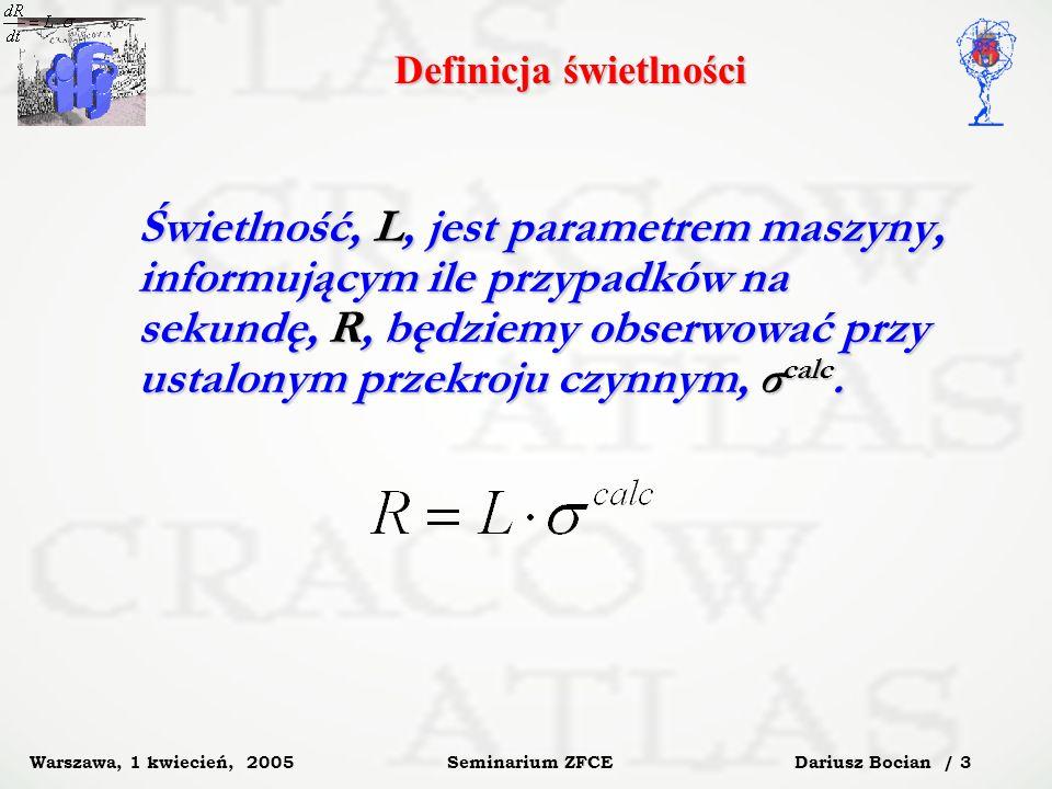 Dariusz Bocian / 14 Seminarium ZFCE Warszawa, 1 kwiecień, 2005 Efektywność cięć selekcyjnych Całkowity przekrój czynny na produkcję e + e - dla energii LHC: pp ppe+e- = 7.06 mb Scenariusz Przekrój czynny 1 1 2 1 2 3 1 2 3 4 1 2 3 4 5 ATLAS 0.24 mb 32 μb 31.3 μb 31.1 μb 17 μb CMS/TOTEM 0.13 mb 0.1 μb 21.6 nb 21.1 nb 17 nb Dla świetlności L=2*10 33 liczba wyprodukowanych przypadków po cięciach 1 do 5 wynosi: N obs 35 tys/s dla ATLAS-a, N obs 10 tys/5 min.