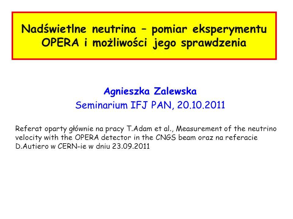 Nadświetlne neutrina – pomiar eksperymentu OPERA i możliwości jego sprawdzenia Agnieszka Zalewska Seminarium IFJ PAN, 20.10.2011 Referat oparty główni