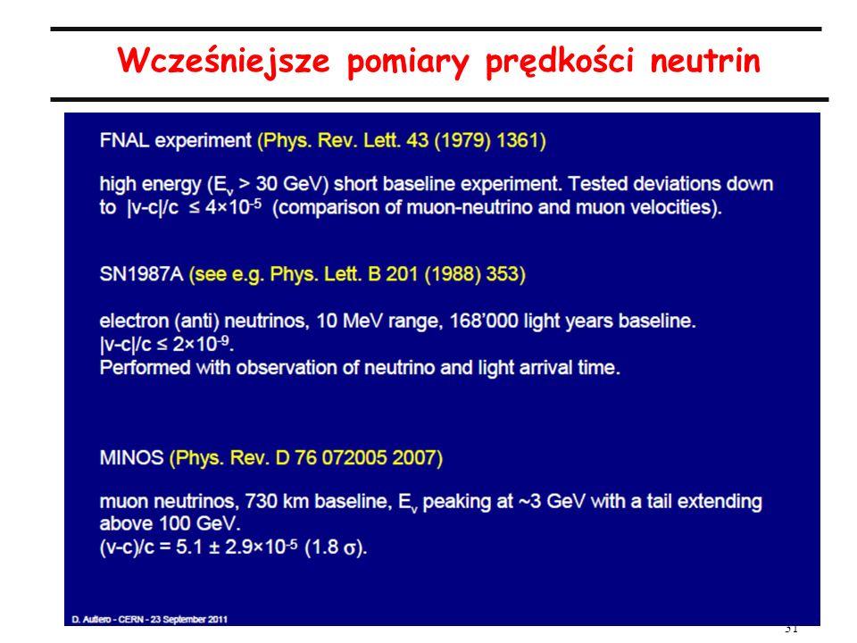 31 Wcześniejsze pomiary prędkości neutrin Statystyczna znaczącość pomiaru wynosi 6 sigma