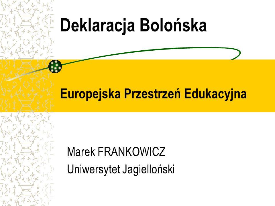 Marek FRANKOWICZ: Deklaracja Bolońska, Europejska Przestrzeń Edukacyjna ECTS w Europie (raport z 2002) Narodowe systemy punktowe (oparte na ECTS lub kompatybilne z ECTS): AT, BE (NL), DK, EE, FR, HU, IS, IT, LV, LT, NL, NO, RO, SK, SE Narodowe systemy punktowe inne niż ECTS: CY, FI, GR, PT, ES, UK Brak uregulowań prawnych: BE (FR), BG, CZ, DE, IE, PL