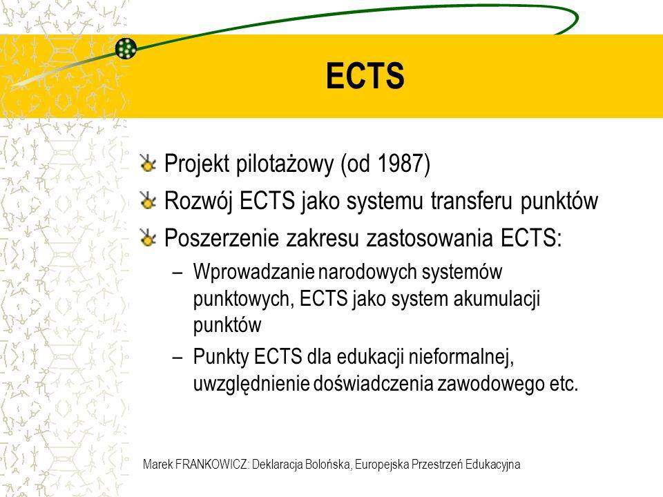 Marek FRANKOWICZ: Deklaracja Bolońska, Europejska Przestrzeń Edukacyjna ECTS Projekt pilotażowy (od 1987) Rozwój ECTS jako systemu transferu punktów P
