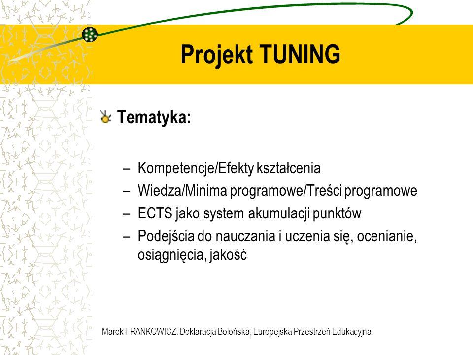 Marek FRANKOWICZ: Deklaracja Bolońska, Europejska Przestrzeń Edukacyjna Projekt TUNING Tematyka: –Kompetencje/Efekty kształcenia –Wiedza/Minima progra