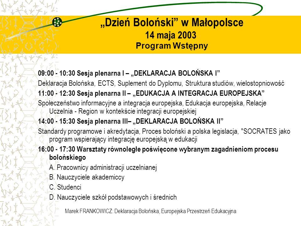 Marek FRANKOWICZ: Deklaracja Bolońska, Europejska Przestrzeń Edukacyjna Dzień Boloński w Małopolsce 14 maja 2003 Program Wstępny 09:00 - 10:30 Sesja p