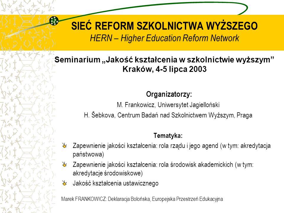 Marek FRANKOWICZ: Deklaracja Bolońska, Europejska Przestrzeń Edukacyjna SIEĆ REFORM SZKOLNICTWA WYŻSZEGO HERN – Higher Education Reform Network Semina