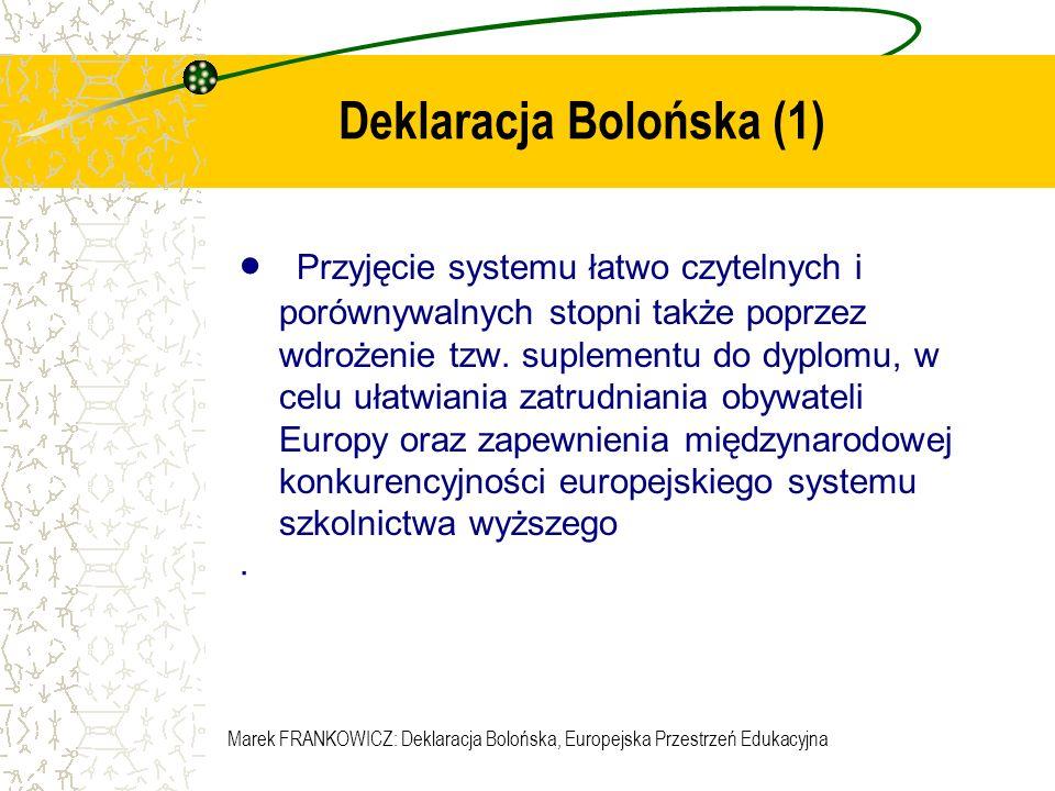 Marek FRANKOWICZ: Deklaracja Bolońska, Europejska Przestrzeń Edukacyjna Deklaracja Bolońska (2) Przyjęcie dwustopniowego systemu nauczania opartego na dwu cyklach kształcenia – pierwszego i drugiego stopnia.