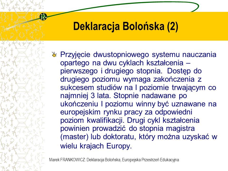 Marek FRANKOWICZ: Deklaracja Bolońska, Europejska Przestrzeń Edukacyjna Dzień Boloński w Małopolsce 14 maja 2003 Program Wstępny 09:00 - 10:30 Sesja plenarna I – DEKLARACJA BOLOŃSKA I Deklaracja Bolońska, ECTS, Suplement do Dyplomu, Struktura studiów, wielostopniowość 11:00 - 12:30 Sesja plenarna II – EDUKACJA A INTEGRACJA EUROPEJSKA Społeczeństwo informacyjne a integracja europejska, Edukacja europejska, Relacje Uczelnia - Region w kontekście integracji europejskiej 14:00 - 15:30 Sesja plenarna III– DEKLARACJA BOLOŃSKA II Standardy programowe i akredytacja, Proces boloński a polska legislacja, SOCRATES jako program wspierający integrację europejską w edukacji 16:00 - 17:30 Warsztaty równoległe poświęcone wybranym zagadnieniom procesu bolońskiego A.