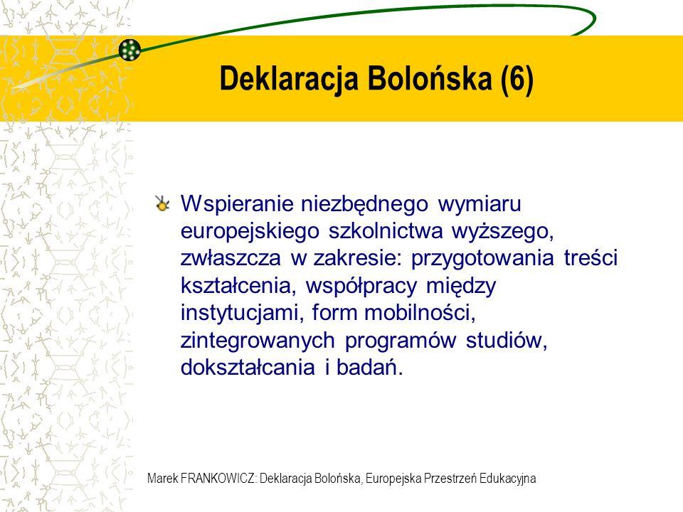 Marek FRANKOWICZ: Deklaracja Bolońska, Europejska Przestrzeń Edukacyjna Podstawowe elementy europejskiej przestrzeni edukacyjnej Porównywalność dyplomów Studia 2-stopniowe System punktowy Zapewnienie jakości kształcenia Promowanie mobilności Wymiar europejski