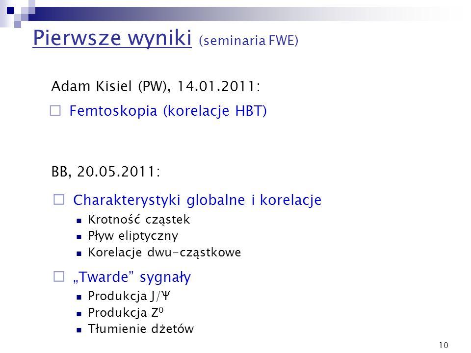 10 Pierwsze wyniki (seminaria FWE) Adam Kisiel (PW), 14.01.2011: BB, 20.05.2011: Charakterystyki globalne i korelacje Krotność cząstek Pływ eliptyczny