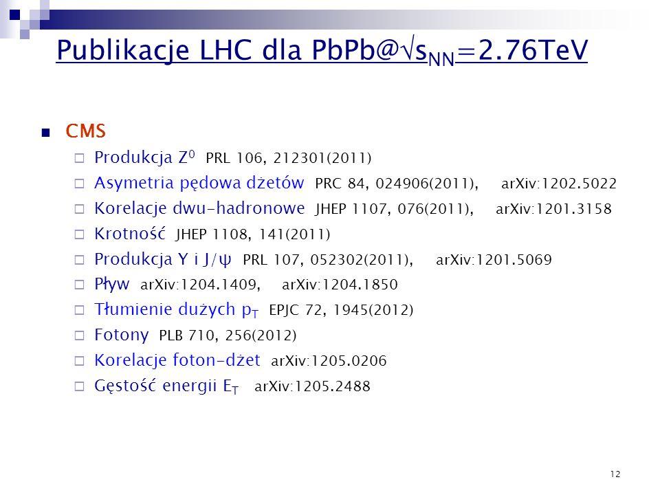 12 CMS Produkcja Z 0 PRL 106, 212301(2011) Asymetria pędowa dżetów PRC 84, 024906(2011), arXiv:1202.5022 Korelacje dwu-hadronowe JHEP 1107, 076(2011),