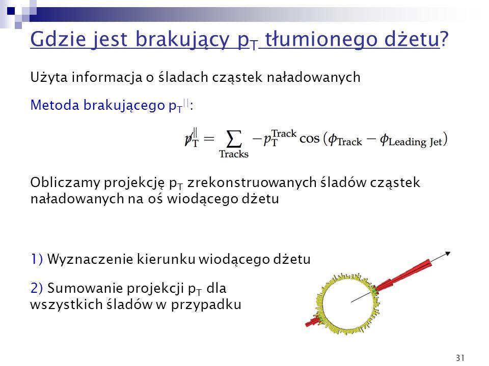 31 Gdzie jest brakujący p T tłumionego dżetu? Metoda brakującego p T || : Użyta informacja o śladach cząstek naładowanych Obliczamy projekcję p T zrek