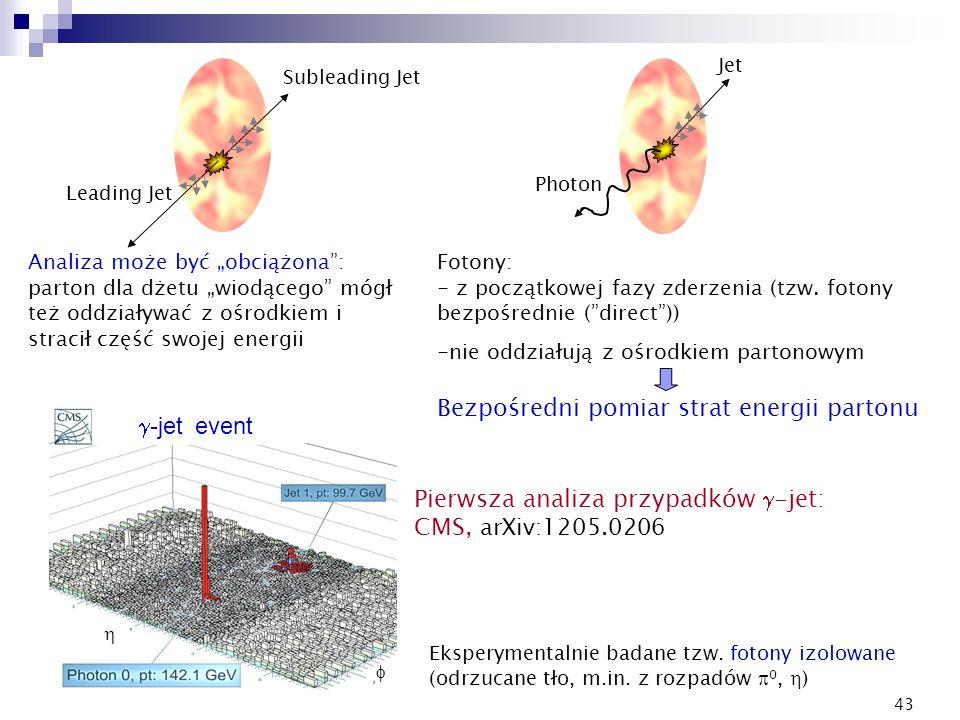 43 Subleading Jet Leading Jet Photon Jet k Analiza może być obciążona: parton dla dżetu wiodącego mógł też oddziaływać z ośrodkiem i stracił część swo