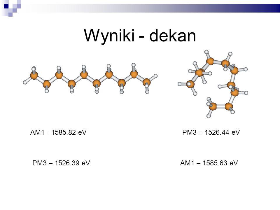 Wyniki - dekan AM1 - 1585.82 eV PM3 – 1526.39 eVAM1 – 1585.63 eV PM3 – 1526.44 eV