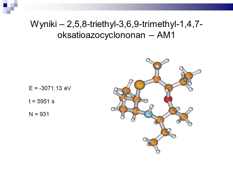Wyniki – 2,5,8-triethyl-3,6,9-trimethyl-1,4,7- oksatioazocyclononan – AM1 E = -3071.13 eV t = 5951 s N = 931