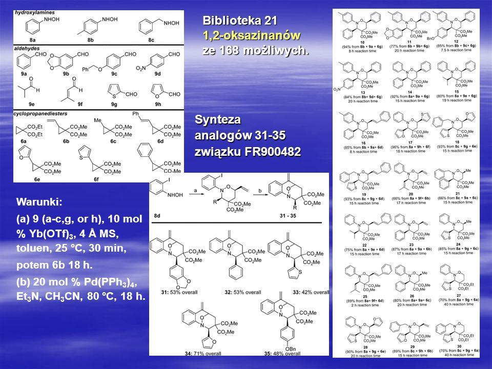 28 Biblioteka 21 1,2-oksazinanów ze 168 możliwych. Warunki: (a) 9 (a-c,g, or h), 10 mol % Yb(OTf) 3, 4 Å MS, toluen, 25 °C, 30 min, potem 6b 18 h. (b)