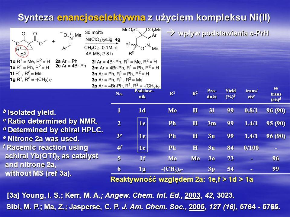 34 Synteza enancjoselektywna z użyciem kompleksu Ni(II) wpływ podstawienia c-PrH wpływ podstawienia c-PrH Sibi, M. P.; Ma, Z.; Jasperse, C. P. J. Am.