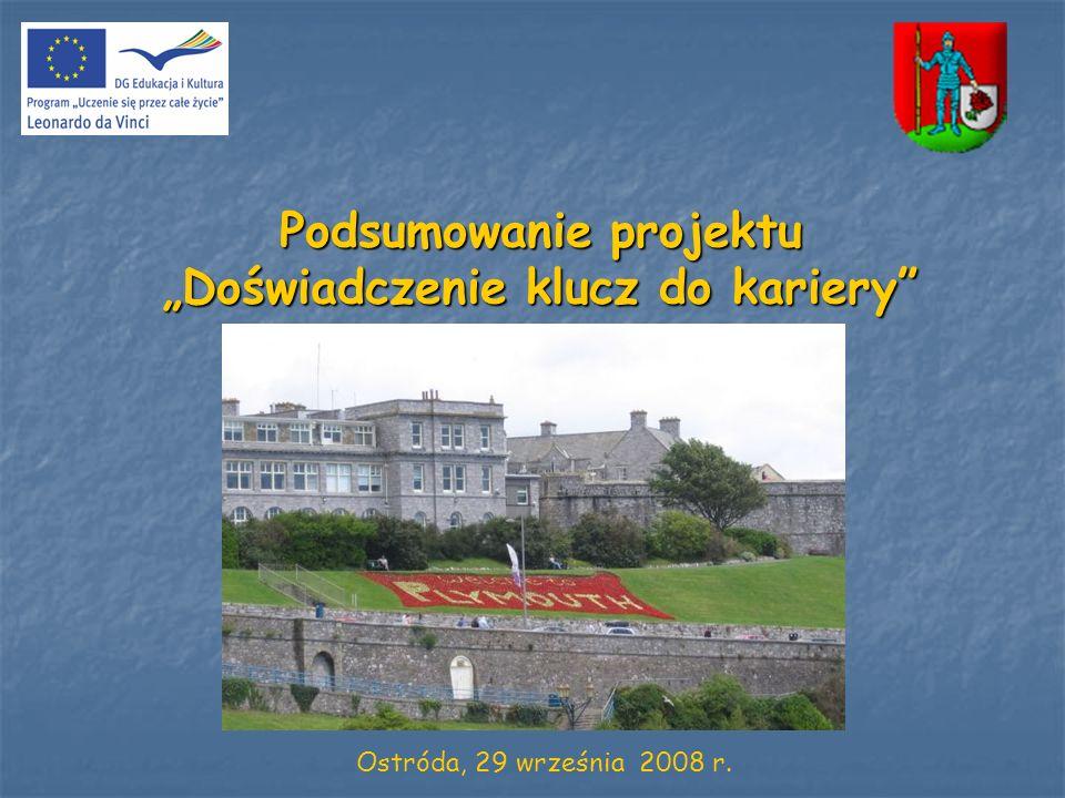 Podsumowanie projektu Doświadczenie klucz do kariery Ostróda, 29 września 2008 r.