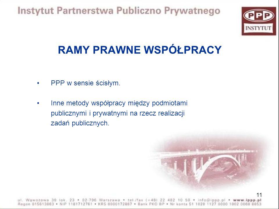 11 RAMY PRAWNE WSPÓŁPRACY PPP w sensie ścisłym. Inne metody współpracy między podmiotami publicznymi i prywatnymi na rzecz realizacji zadań publicznyc