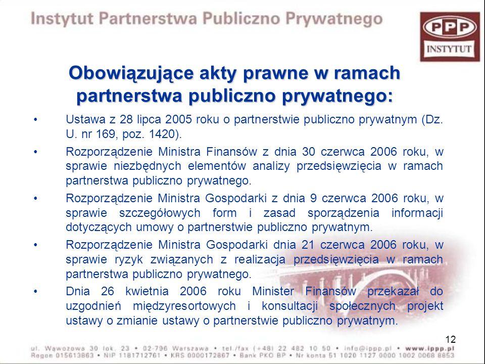 12 Obowiązujące akty prawne w ramach partnerstwa publiczno prywatnego: Ustawa z 28 lipca 2005 roku o partnerstwie publiczno prywatnym (Dz. U. nr 169,