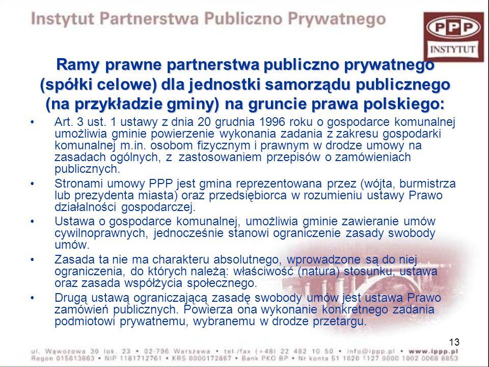 13 Ramy prawne partnerstwa publiczno prywatnego (spółki celowe) dla jednostki samorządu publicznego (na przykładzie gminy) na gruncie prawa polskiego: