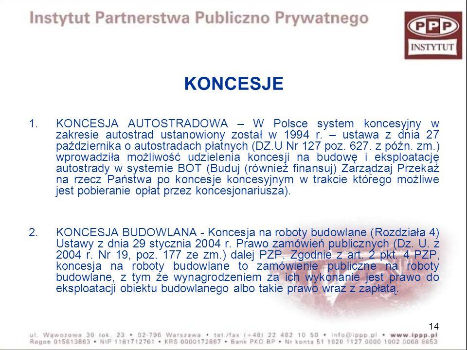 14 KONCESJE 1.KONCESJA AUTOSTRADOWA – W Polsce system koncesyjny w zakresie autostrad ustanowiony został w 1994 r. – ustawa z dnia 27 października o a