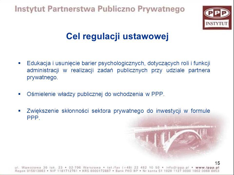 15 Cel regulacji ustawowej Edukacja i usunięcie barier psychologicznych, dotyczących roli i funkcji administracji w realizacji zadań publicznych przy