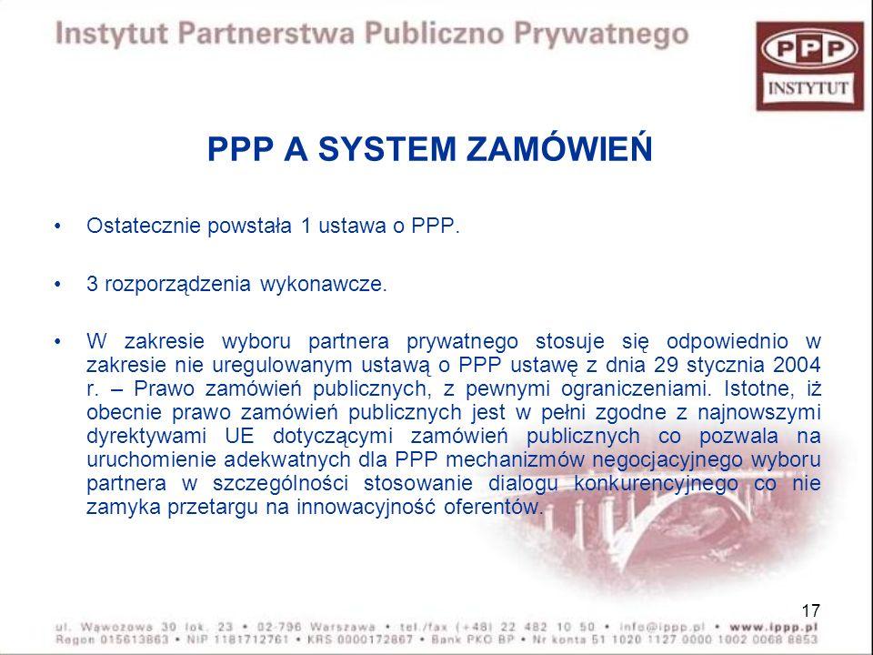 17 PPP A SYSTEM ZAMÓWIEŃ Ostatecznie powstała 1 ustawa o PPP. 3 rozporządzenia wykonawcze. W zakresie wyboru partnera prywatnego stosuje się odpowiedn