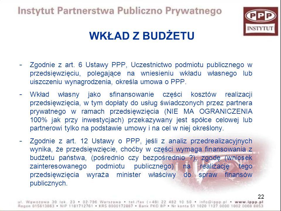 22 WKŁAD Z BUDŻETU - Zgodnie z art. 6 Ustawy PPP, Uczestnictwo podmiotu publicznego w przedsięwzięciu, polegające na wniesieniu wkładu własnego lub ui
