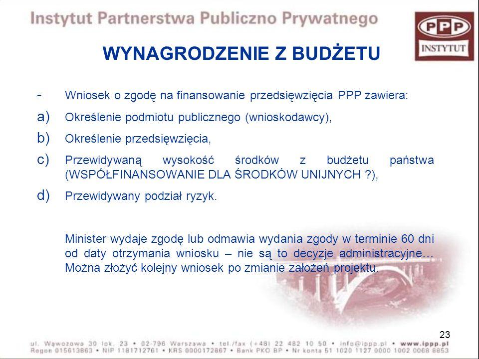 23 WYNAGRODZENIE Z BUDŻETU - Wniosek o zgodę na finansowanie przedsięwzięcia PPP zawiera: a) Określenie podmiotu publicznego (wnioskodawcy), b) Określ
