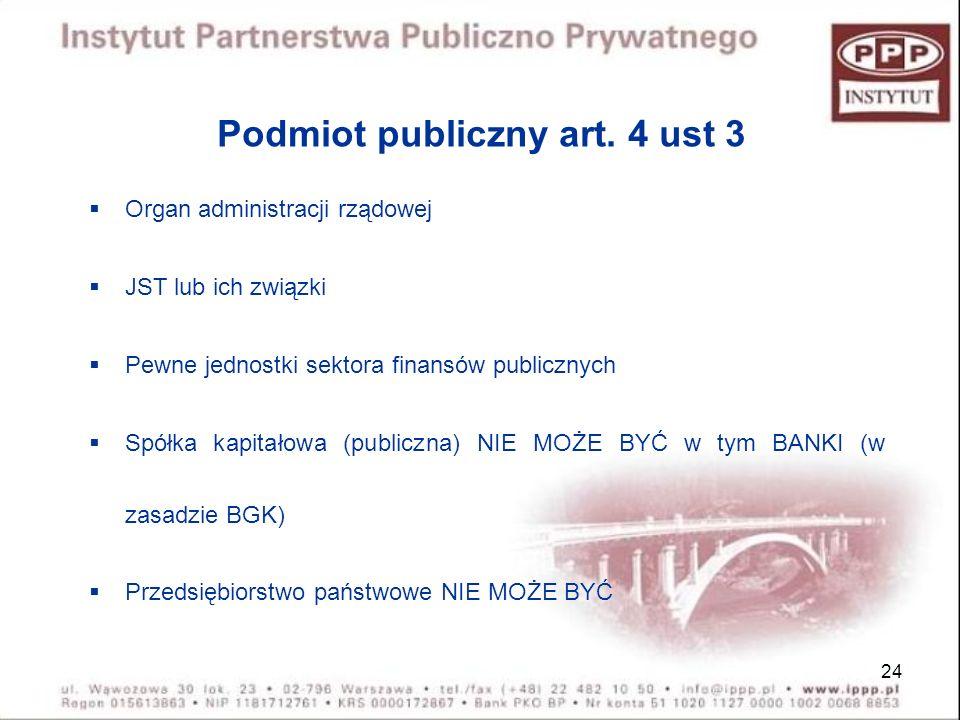 24 Podmiot publiczny art. 4 ust 3 Organ administracji rządowej JST lub ich związki Pewne jednostki sektora finansów publicznych Spółka kapitałowa (pub