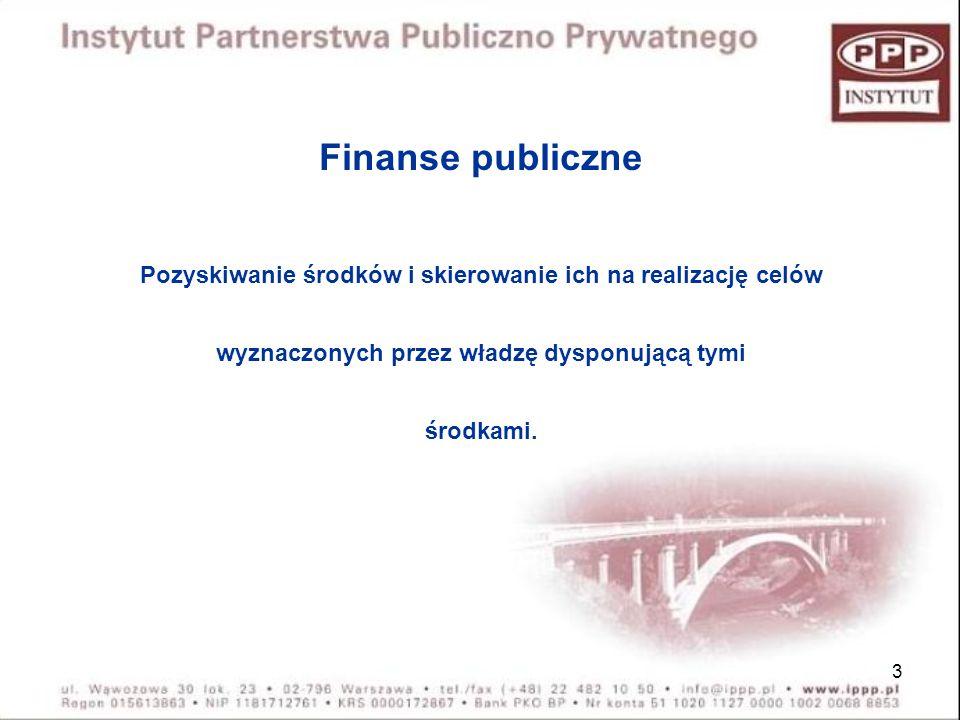 3 Finanse publiczne Pozyskiwanie środków i skierowanie ich na realizację celów wyznaczonych przez władzę dysponującą tymi środkami.