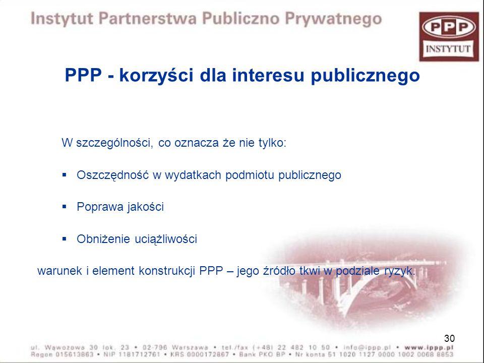 30 PPP - korzyści dla interesu publicznego W szczególności, co oznacza że nie tylko: Oszczędność w wydatkach podmiotu publicznego Poprawa jakości Obni