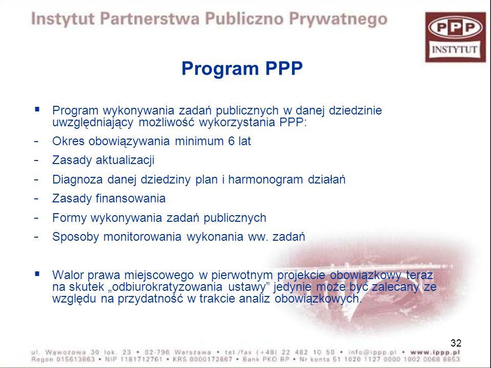 32 Program PPP Program wykonywania zadań publicznych w danej dziedzinie uwzględniający możliwość wykorzystania PPP: - Okres obowiązywania minimum 6 la