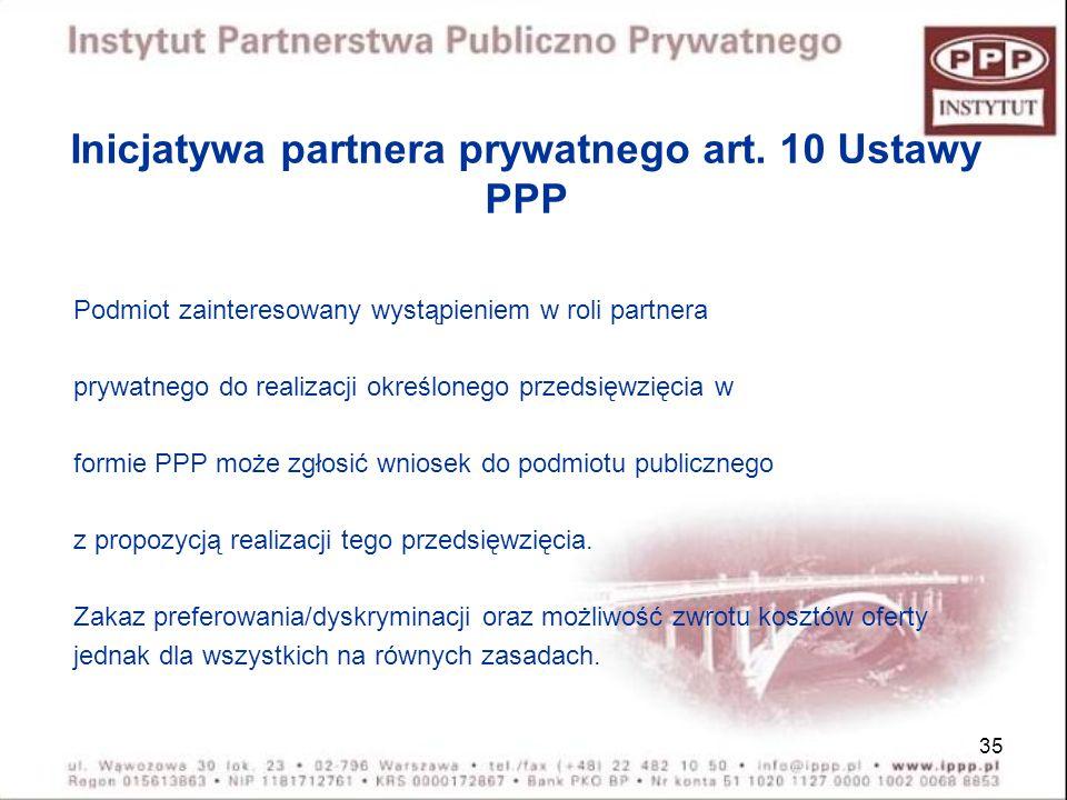 35 Inicjatywa partnera prywatnego art. 10 Ustawy PPP Podmiot zainteresowany wystąpieniem w roli partnera prywatnego do realizacji określonego przedsię