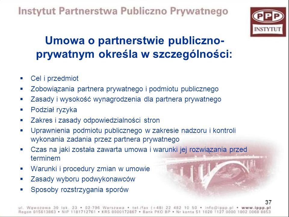 37 Umowa o partnerstwie publiczno- prywatnym określa w szczególności: Cel i przedmiot Zobowiązania partnera prywatnego i podmiotu publicznego Zasady i