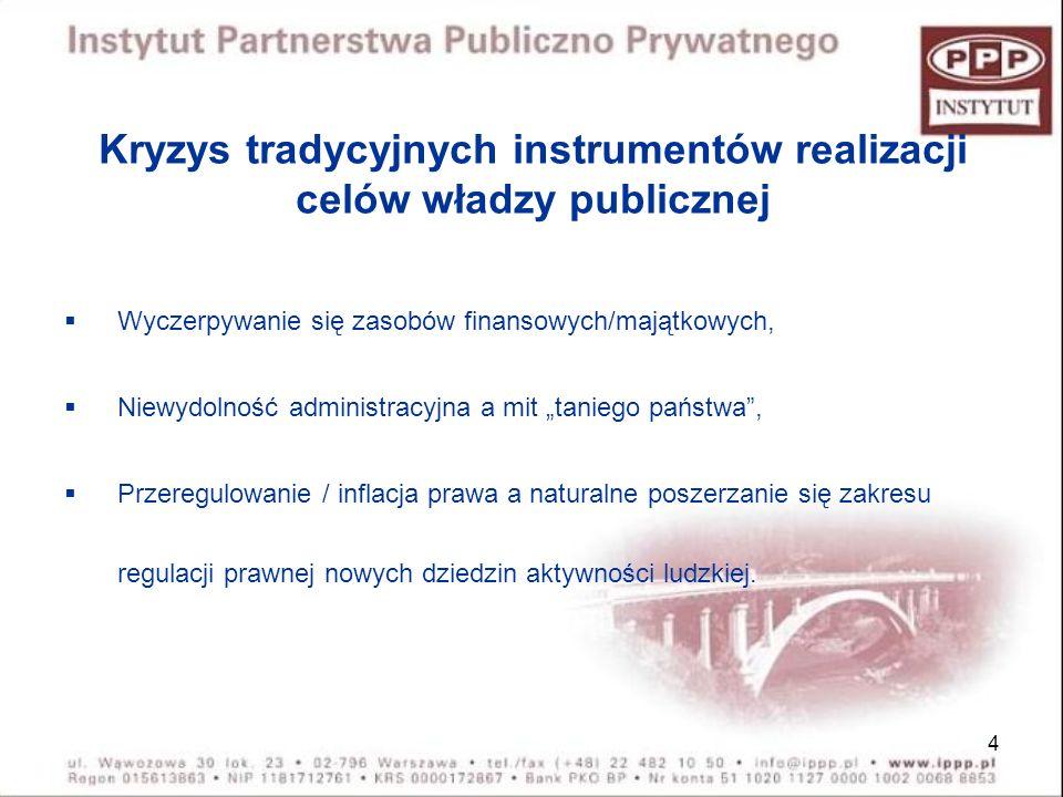 4 Kryzys tradycyjnych instrumentów realizacji celów władzy publicznej Wyczerpywanie się zasobów finansowych/majątkowych, Niewydolność administracyjna