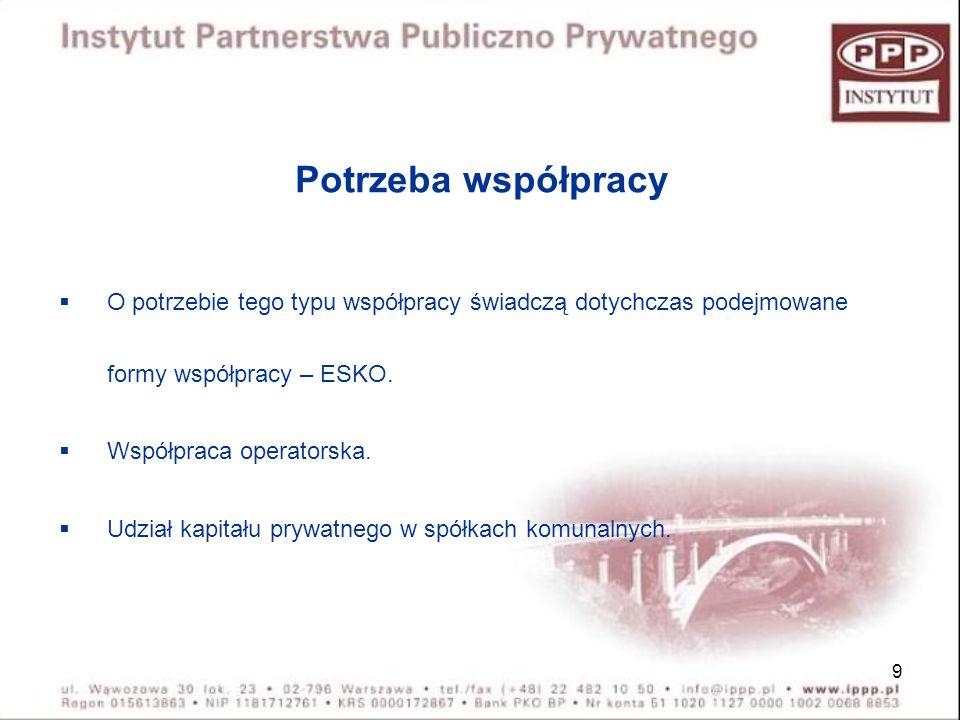 9 Potrzeba współpracy O potrzebie tego typu współpracy świadczą dotychczas podejmowane formy współpracy – ESKO. Współpraca operatorska. Udział kapitał