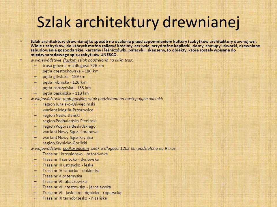 Szlak architektury drewnianej Szlak architektury drewnianej to sposób na ocalenie przed zapomnieniem kultury i zabytków architektury dawnej wsi.