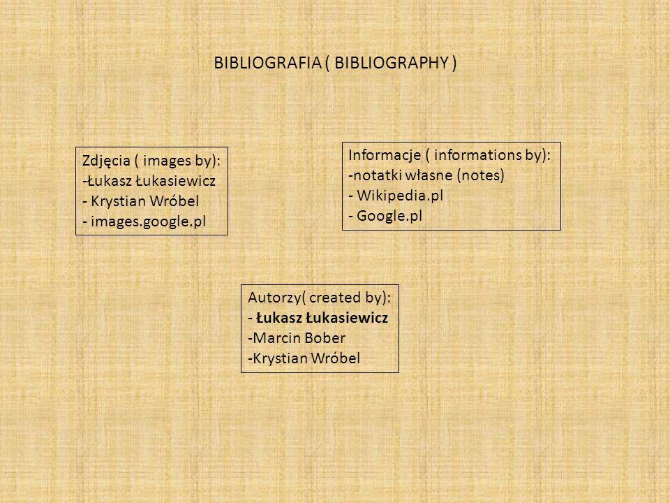 BIBLIOGRAFIA ( BIBLIOGRAPHY ) Zdjęcia ( images by): -Łukasz Łukasiewicz - Krystian Wróbel - images.google.pl Informacje ( informations by): -notatki własne (notes) - Wikipedia.pl - Google.pl Autorzy( created by): - Łukasz Łukasiewicz -Marcin Bober -Krystian Wróbel
