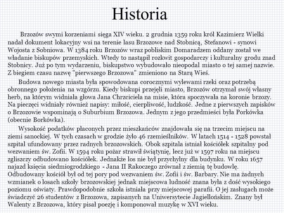 Historia Brzozów swymi korzeniami sięga XIV wieku.