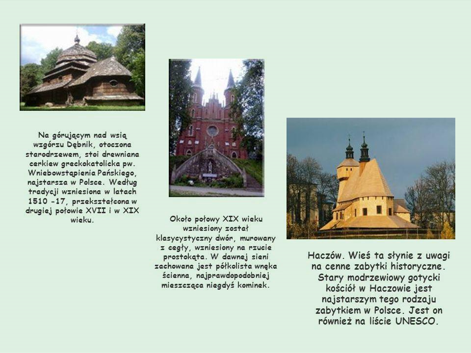 Na górującym nad wsią wzgórzu Dębnik, otoczona starodrzewem, stoi drewniana cerkiew greckokatolicka pw.