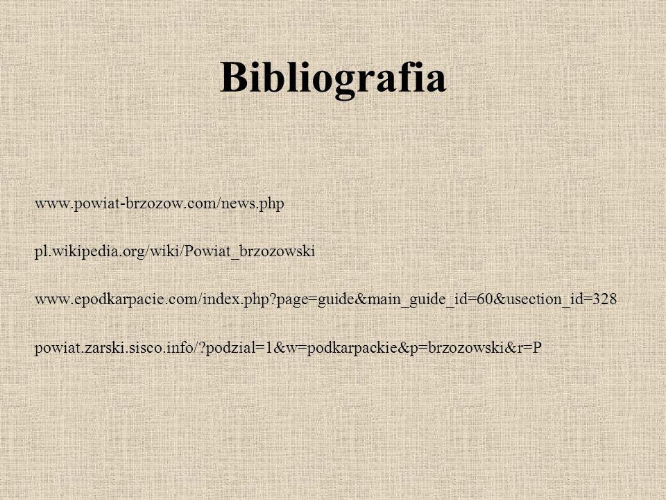 Bibliografia www.powiat-brzozow.com/news.php pl.wikipedia.org/wiki/Powiat_brzozowski www.epodkarpacie.com/index.php?page=guide&main_guide_id=60&usection_id=328 powiat.zarski.sisco.info/?podzial=1&w=podkarpackie&p=brzozowski&r=P