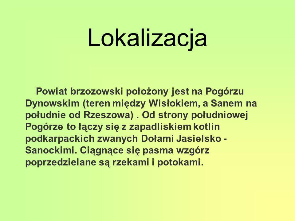 Lokalizacja Powiat brzozowski położony jest na Pogórzu Dynowskim (teren między Wisłokiem, a Sanem na południe od Rzeszowa).
