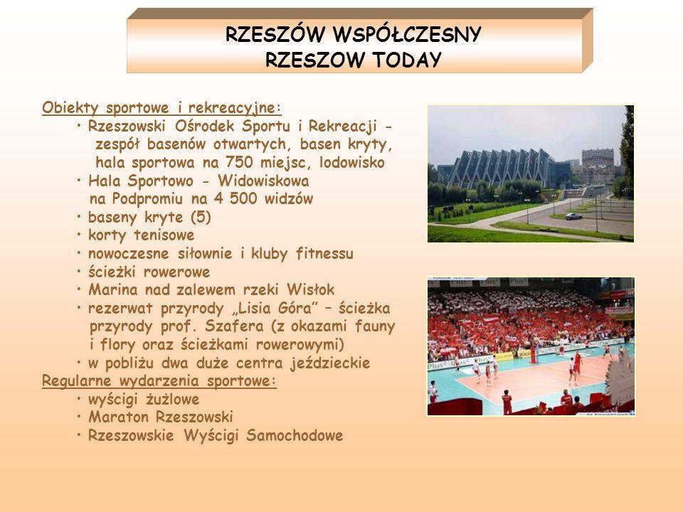 Obiekty sportowe i rekreacyjne: Rzeszowski Ośrodek Sportu i Rekreacji - zespół basenów otwartych, basen kryty, hala sportowa na 750 miejsc, lodowisko