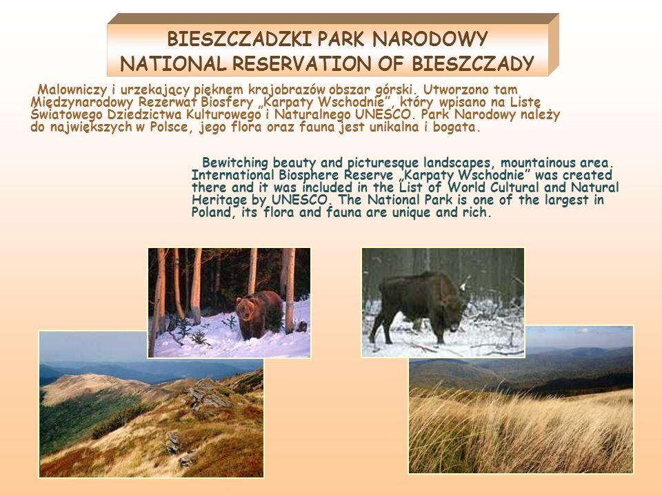 BIESZCZADZKI PARK NARODOWY NATIONAL RESERVATION OF BIESZCZADY Malowniczy i urzekający pięknem krajobrazów obszar górski. Utworzono tam Międzynarodowy