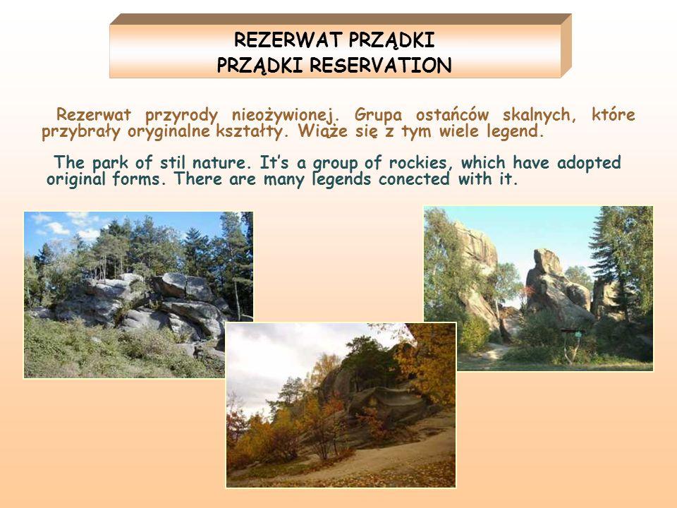 REZERWAT PRZĄDKI PRZĄDKI RESERVATION Rezerwat przyrody nieożywionej. Grupa ostańców skalnych, które przybrały oryginalne kształty. Wiąże się z tym wie