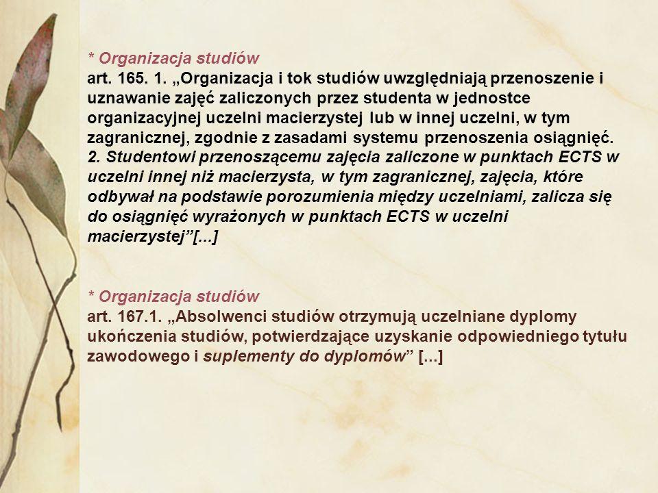 * Organizacja studiów art. 165. 1. Organizacja i tok studiów uwzględniają przenoszenie i uznawanie zajęć zaliczonych przez studenta w jednostce organi