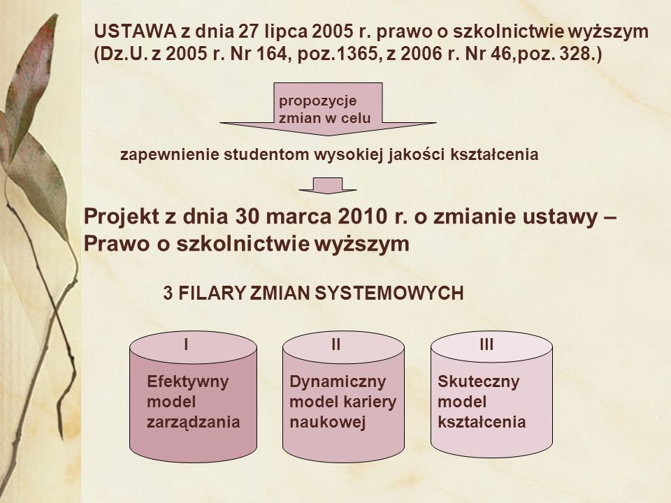 USTAWA z dnia 27 lipca 2005 r. prawo o szkolnictwie wyższym (Dz.U. z 2005 r. Nr 164, poz.1365, z 2006 r. Nr 46,poz. 328.) propozycje zmian w celu zape