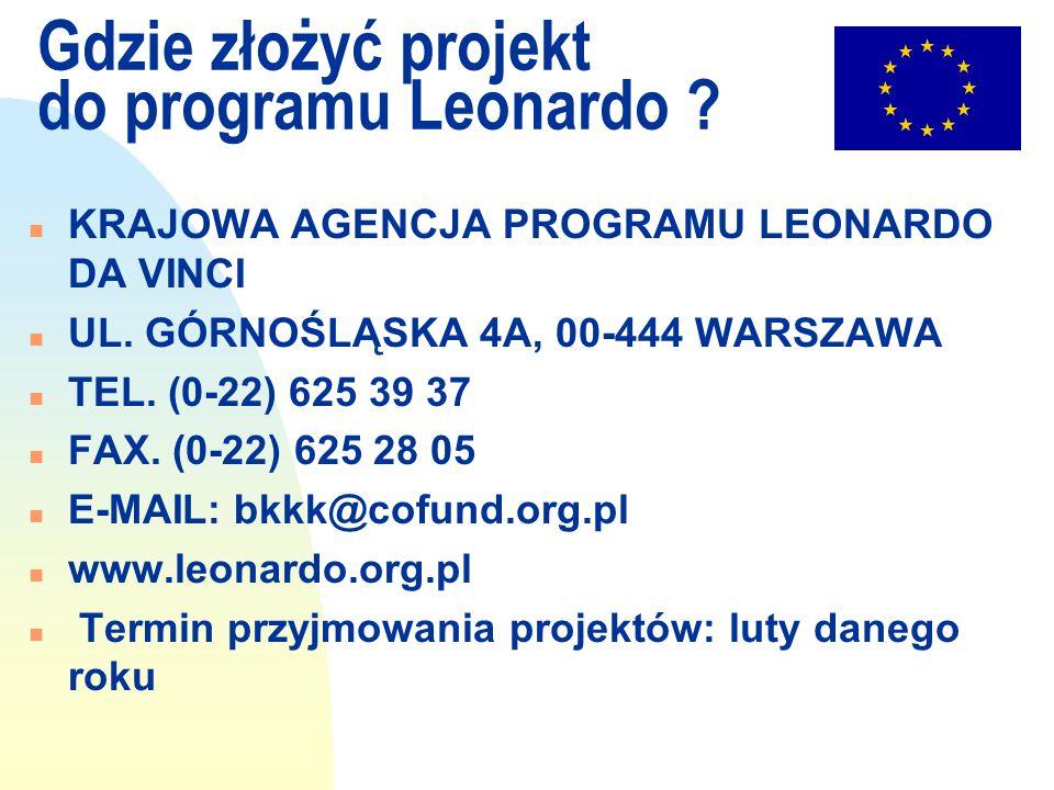 Gdzie złożyć projekt do programu Leonardo ? n KRAJOWA AGENCJA PROGRAMU LEONARDO DA VINCI n UL. GÓRNOŚLĄSKA 4A, 00-444 WARSZAWA n TEL. (0-22) 625 39 37